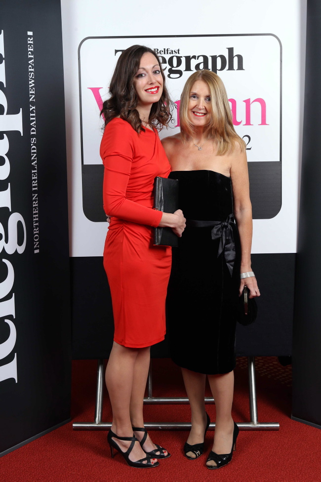 Press Eye - Belfast - Northern Ireland - 5th December 2012 - 2012 Belfast Telegraph Woman of the Year Awards in Association with ASDA at the Ramada Hotel in Belfast. Lucy Caldwell and Maureen Caldwell pictured at the awards. Picture by Kelvin Boyes / Press Eye